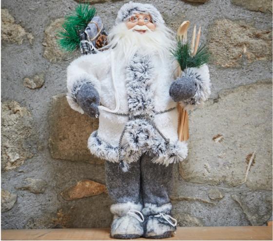 Père Noël debout 45cm - GRIS