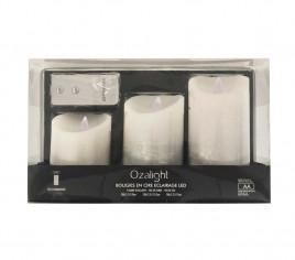 Coffret de 3 bougies à LED avec télécommande - argent