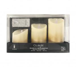 Coffret de 3 bougies à LED avec télécommande - or