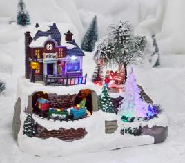 Village lumineux - Gare avec sapin blanc